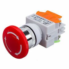 Emergency Push Stop Button Switch AC 660V 10A Red Mushroom Cap 1NO 1NC DPST