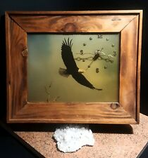 Made in Montana Eagle CLOCK Wood Rustic COUNTRY western Wall  Tested/Working