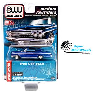 Auto World 1:64 Custom Lowriders 1962 Chevy Impala SS Convertible Blue