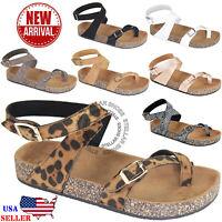 NEW Women Sandals Slide Buckle T-Strap Cork Footbed Platform Flip Flop Shoes
