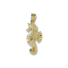 10K Solid Yellow Gold Seahorse Pendant - Sea Polished Necklace Charm Women Men