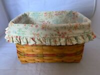2002 Longaberger Mother's Day Basket Combo with Floral Liner Plastic Protector