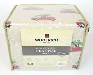 Woolrich Flannel King Sheet Set Red Truck Dog Christmas Tree