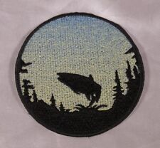 Embroidered Jumping Salmon Fish Sunrise Silhouette Ombre Circle Patch Iron On