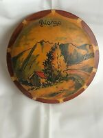 Vtg 1950s 60s NORWAY Norge Wooden POWDER Container for Dresser Top + Powder Puff