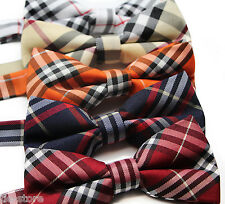 MENS COTTON PLAID CHECKERED BOW TIE PRE-TIED MEN'S BOWTIE WEDDING FORMAL TIES