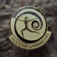 Modern Gymnastics Woman Dancing with Long Twisting Streamer Czech Sports Pin
