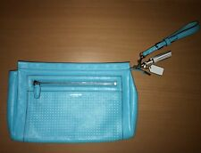 Coach Legacy Perforated Clutch LARGE Wristlet 49001 Silver Robin Chalk Purse