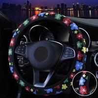 Car Steering Wheel Cover PU Leather 15 37~38CM Flower For Women Girls Ladies
