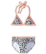 NWT Roxy 4 Girl's 2 Pc  Bikini Swimsuit Tiki Triangle Set Fringe Leopard Pink