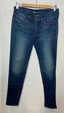 Levis Ladies Jeans W28 L29 Slight Curve Skinny Blue Beaded Pockets Black Label