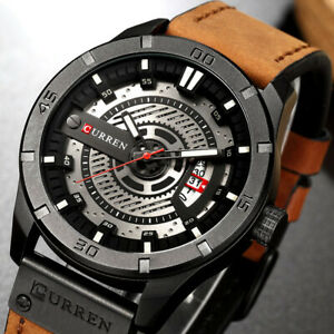 Mens Watch Quartz Date Analogue Leather Strap Army Military Sports Wrist Watches