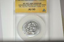 SASANIAN KINGDOM. Peroz (AD 457-484). AR drachm ANACS AU-50.