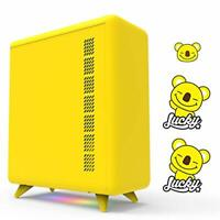 GOLDEN FIELD Q Series Yellow Fun Computer PC Case, 3 DIY Stickers, ARGB Lighting