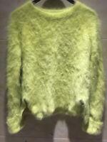 Angora Wool Blended Jumper Fluffy Fuzzy Pullover Super Soft Side Slit Sweater
