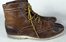 ALDO brown wingtip boot work buisness casual 12 45 distressed oily leather