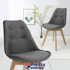 2 Piece Dining Chairs Grey Soft Cushion Wooden legs KItchen Furniture Room Seats