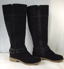 "Black Suede Leather Tall Equestrian Riding Boots 15"" Lands End 432810 Women sz 6"