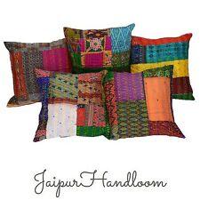 5pc silk kantha pillow covers indian patchwork kantha throw pillow cushions