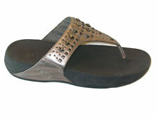 FitFlop Metallic Pewter Biker Studded Fashion Sandals Women Sz 9 EUR 41