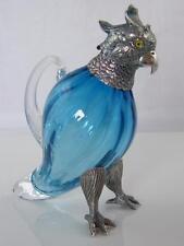 More details for silver plate & aqua blue glass parakeet decanter glass eyes