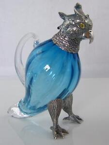 SILVER PLATE & AQUA BLUE GLASS PARAKEET DECANTER GLASS EYES