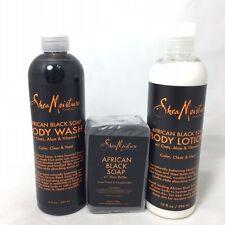 Shea Moisture African Black Soap Wash, Lotion, Soap Set  764302233039S1715