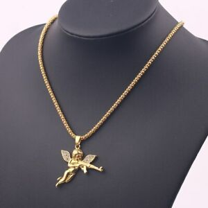 9k Real  Gold Filled  Bad Angel Pendant Necklace Pure Gold Color Chain