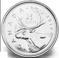 2014 Uncirculated Canadian Quarter $0.25
