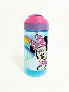 Zak Designs Minnie Mouse Bottle Blue with Straw & Built in Carrying Loop 16 oz