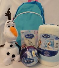 Frozen Gift Lot Ty Olaf Plush Throw Metallic Tattoos Ball & Full Size Backpack