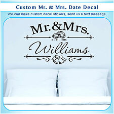 Personalized custom Mr & Mrs Married Date Art Wall Vinyl Decor Sticker Decal 102