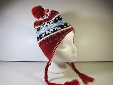 Youth sized Peruvian Style Knit Winter Hat red Snowflake Earflaps Fleece lined