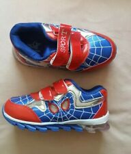 BNIB Boys Spiderman Trainers Shoes Kids Running Blue/Red Size 31