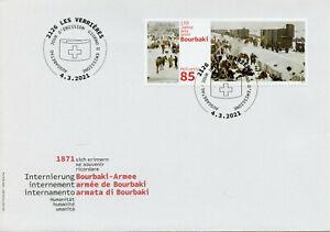 Switzerland Military Stamps 2021 FDC Bourbaky Army Internment Horses Art 1v Set