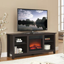 Fireplace TV Stand Space Heater Brown Espresso Cabinet Shelving Storage Wood