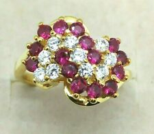 1/2Ct Round Ruby & Diamond 14k Gold Over Cluster Engagement Ring NEW