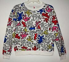 KEITH HARING SWEAT SHIRT VTG 80s ART PRINT BARKING DOG BAT X MAN LONG SLEEVE