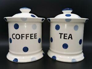 Fairmont & Main Blue Spot Tea and Coffee Jars