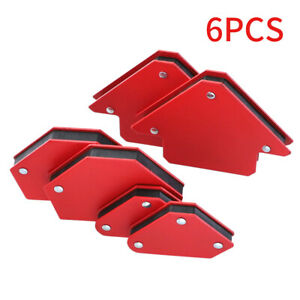6pcs Fixed Angle Mini Triangle Welding Locator Super Magnetic Home Red Hand Tool