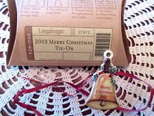 Longaberger MERRY CHRISTMAS Basket Tie-On Vintage Bell 2003 Ceramic New In Box
