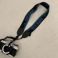 "Excellent Vintage MINOLTA CAMERA NECK STRAP  1 1/2"" wide  Navy blue logo"