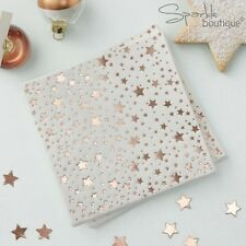 ROSE GOLD METALLIC STAR Christmas Paper NAPKINS - Xmas Party (25cm When Open)