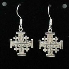 Sterling Silver JERUSALEM CROSS Dangle Earrings, Made in USA