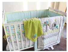 New 8PCS Boy Baby Bedding Set Elephants Nursery Quilt Bumper Sheet Dust ruffle