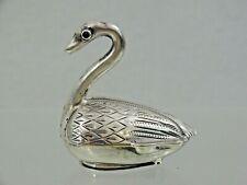 RARE ANTIQUE DUTCH SILVER VINAIGRETTE Figural Swan Ruby Eyes sterling