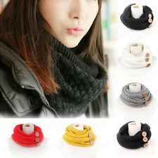 Fashion Men Women Scarf Winter Warm Two Circle Cable Knit Cowl Soft Neck Scarf