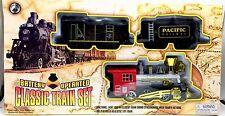 Train Set Lights Sound 1 Locomotive 2 Cars 12 Tracks Battery Operated New