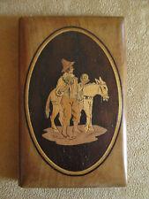 ancien carnet de bal en marqueterie de bois souvenir de Sorrento Italie XIX ème