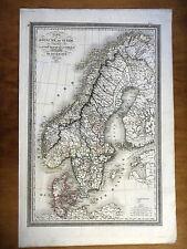 CARTE GEOGRAPHIQUE 19e - ROYAUME DE SUEDE - NORVEGE - DANEMARK - PAR VIVIEN 1834